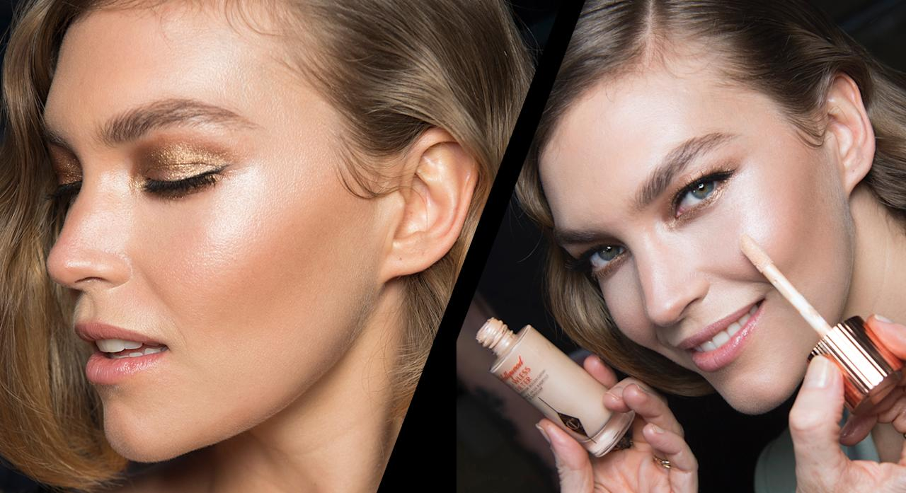 "<p>At Temperley London, the make-up was inspired by iconic film stars with a nod to the 1930's and 1970's, pairing glowing skin with a smokey bronze Hollywood eye. Forget about lit-from-within; Charlotte Tilbury team went mega-watt, lit-from-all-angles, described as ""a gorgeous, glossy, all-over superstar-lit glow!""<br /><strong>Get the Look:</strong><br /> The new Charlotte Tilbury Hollywood Flawless Filter was used all over the skin to give model complexions the ultimate glow. Launching on February 22, it's a versatile combination of highlighter meets primer. For the full Templerley effect, pat all over the skin but if you want to tone down the glow, stick to cheekbones and the center of your nose. </p>"