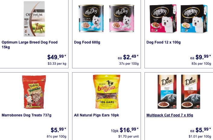 Pet care products on sale as Special Buys at Aldi.