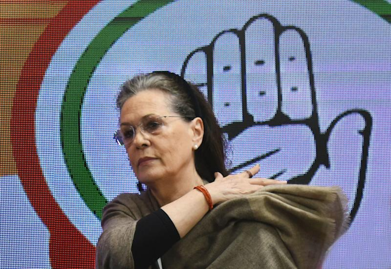 NEW DELHI, INDIA - FEBRUARY 26: Congress President Sonia Gandhi after a meeting of the CWC at AICC on February 26, 2020 in New Delhi, India. (Photo by Vipin Kumar/Hindustan Times via Getty Images)