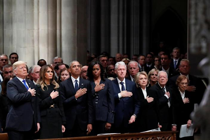 President Donald Trump, first lady Melania Trump, former President Barack Obama, former first lady Michelle Obama, former President Bill Clinton, former Secretary of State Hillary Clinton, former President Jimmy Carter and former first lady Rosalynn Carter participate in the State Funeral for former President George H.W. Bush, at the National Cathedral, Wednesday, Dec. 5, 2018 in Washington. (Photo: Alex Brandon/Pool via Reuters)