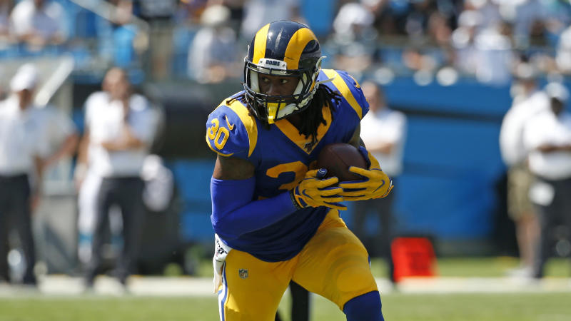 Los Angeles Rams running back Todd Gurley (30) runs the ball against the Carolina Panthers during the first half of an NFL football game in Charlotte, N.C., Sunday, Sept. 8, 2019. (AP Photo/Brian Blanco)