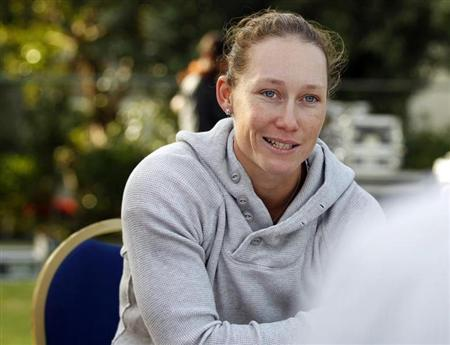 Stosur of Australia speaks during a round-table meet on the first day of the WTA Dubai Tennis Championships