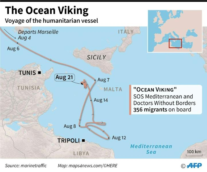 """The voyage of the charity rescue ship """"Ocean Viking"""" (AFP Photo/Jean-Michel CORNU)"""