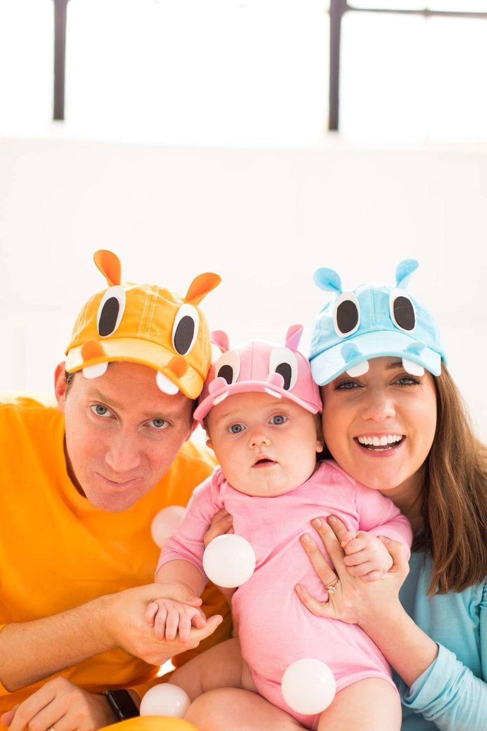 """<p>It's the ultimate throwback costume! Add some foam sheet pieces to a set of colorful baseball caps, and you'll see the """"Hungry Hungry Hippo"""" resemblance in no time.</p><p><strong>See more at <a href=""""https://sugarandcloth.com/our-family-diy-hungry-hippos-costume-idea/"""" rel=""""nofollow noopener"""" target=""""_blank"""" data-ylk=""""slk:Sugar & Cloth"""" class=""""link rapid-noclick-resp"""">Sugar & Cloth</a>.</strong></p><p><a class=""""link rapid-noclick-resp"""" href=""""https://go.redirectingat.com?id=74968X1596630&url=https%3A%2F%2Fwww.walmart.com%2Fsearch%2F%3Fquery%3Dball%2Bpit%2Bballs&sref=https%3A%2F%2Fwww.thepioneerwoman.com%2Fhome-lifestyle%2Fcrafts-diy%2Fg37066817%2Fhalloween-costumes-for-3-people%2F"""" rel=""""nofollow noopener"""" target=""""_blank"""" data-ylk=""""slk:SHOP BALL PIT BALLS"""">SHOP BALL PIT BALLS</a></p>"""