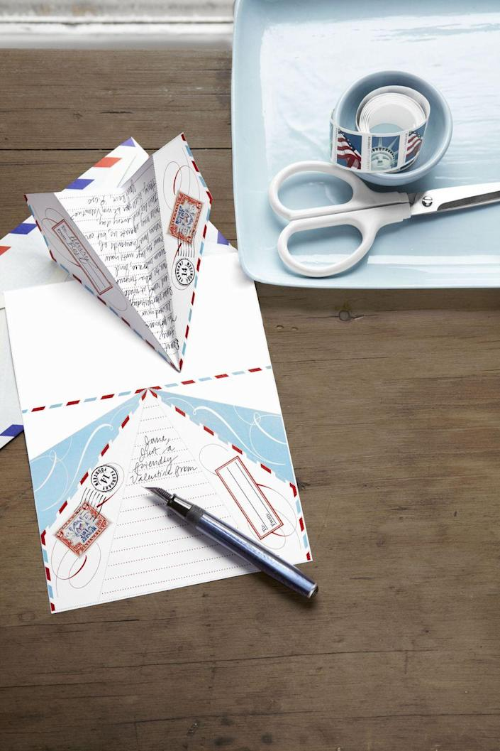 """<p>Give your Valentine's Day notes a lift. Take an aerial approach to letter writing with pint-size paper airplanes. <em>CL</em> contributing editor Cathe Holden designed this high-flying stationery. All you have to do? <a href=""""http://clv.h-cdn.co/assets/cm/15/27/559438cf73701_-_airplane_valentine.pdf"""" rel=""""nofollow noopener"""" target=""""_blank"""" data-ylk=""""slk:Print out a copy of the 8&quot;W x 11&quot;L PDF"""" class=""""link rapid-noclick-resp"""">Print out a copy of the 8""""W x 11""""L PDF</a>, jot down a note, then cut off the attached folding instructions and follow them to send your sentiments soaring.</p>"""