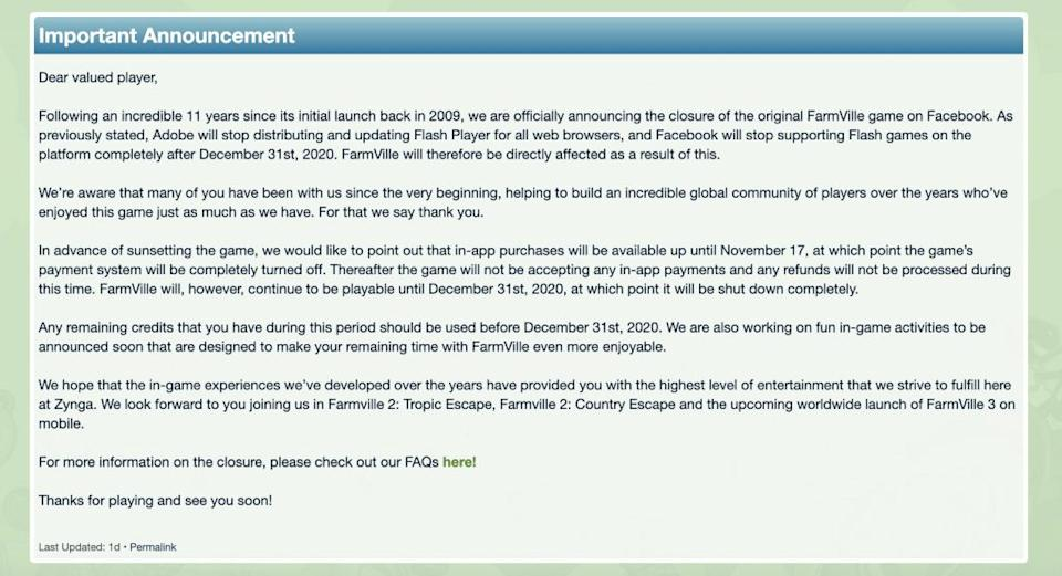 FarmVille is shutting down by the end of the year, marking the end