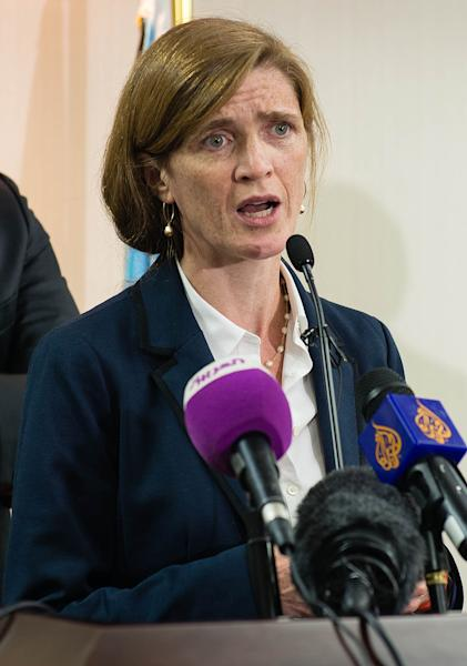 US Ambassador to the United Nations Security Council Samantha Power addresses the press after a meeting with South Sudan's president on August 12, 2014 in Juba (AFP Photo/Charles Lomodong)