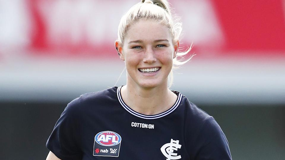 Tayla Harris is reportedly seeking a deal worth $150,000 from the Carlton Blues, a figure the club has baulked at. (Photo by Dylan Burns/AFL Photos via Getty Images)
