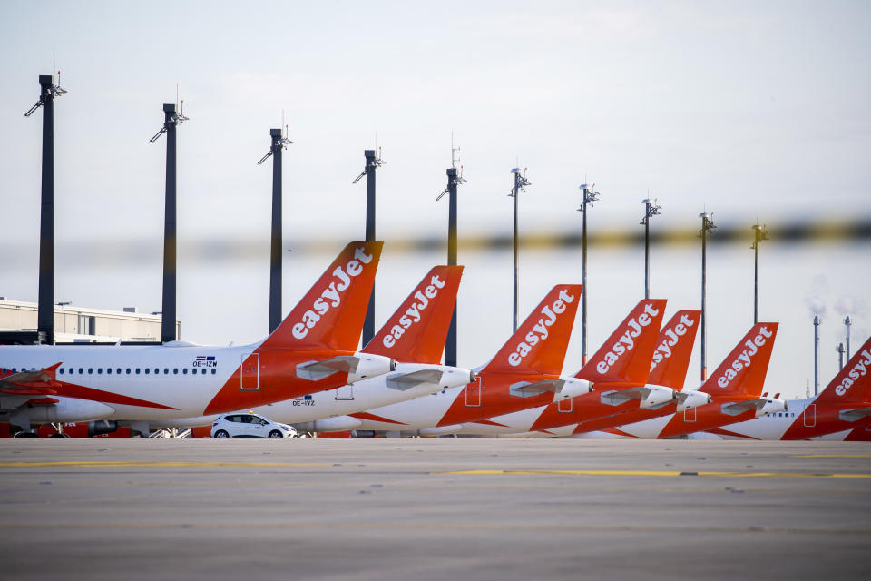 Airplanes of Easyjet are seen at newly opened BER Berlin Brandenburg Willy Brandt Airport in Schoenefeld near Berlin, Germany on November 4, 2020. The airport started operation on Oktober 31, 2020 with almost 11 years of delay from the first prevented opening. (Photo by Emmanuele Contini/NurPhoto via Getty Images)