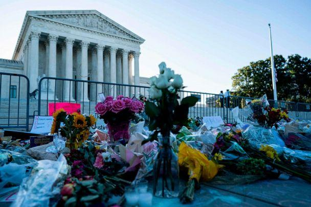 PHOTO: A makeshift memorial for late US Supreme Court Justice Ruth Bader Ginsberg is seen near the steps of the US Supreme Court, Sept. 21, 2020, in Washington, DC. (Alex Edelman/AFP via Getty Images)