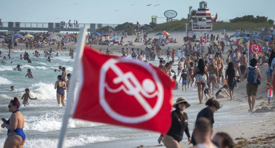 Disturbing scenes of people ignoring social distancing and other Covid restrictions recently emerged from Miami Beach during spring break. Source: AP