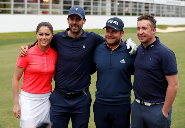 Golf - European Tour - BMW PGA Championship - Wentworth Club, Virginia Water, Britain - May 23, 2018 Sam Quek, Jamie Redknapp, England's Tyrell Hatton and Robbie Fowler pose for a picture during the Pro-AM Action Images via Reuters/Paul Childs