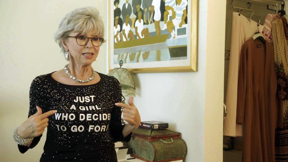 """This image released by the Sundance Institute shows Rita Moreno in a scene from """"Rita Moreno: Just a Girl Who Decided to Go For It,"""" an official selection of the U.S. Documentary Competition at the 2021 Sundance Film Festival. (Sundance Institute via AP)"""