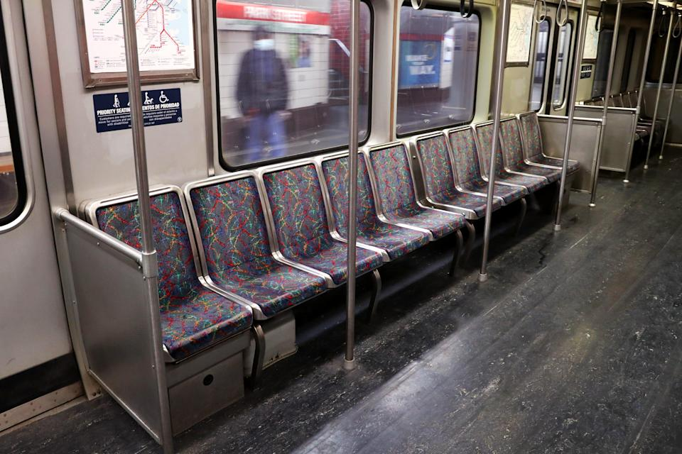The MBTA in Boston in March 2020 when lockdown caused users to plummet and the city to emptyGetty Images