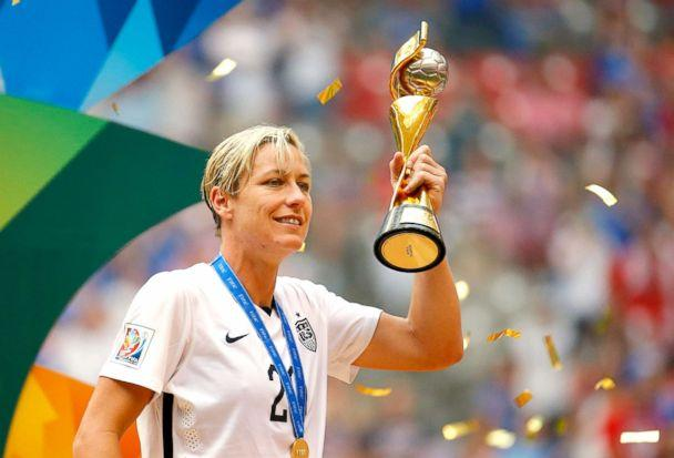 PHOTO: Abby Wambach, no.20, of U.S. holds the World Cup Trophy after their 5-2 over Japan in the FIFA Women's World Cup Canada 2015 Final at BC Place Stadium on July 5, 2015, in Vancouver. (Kevin C. Cox/Getty Images FILE)
