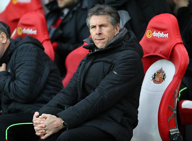 <p>Southampton manager Claude Puel looks on</p>