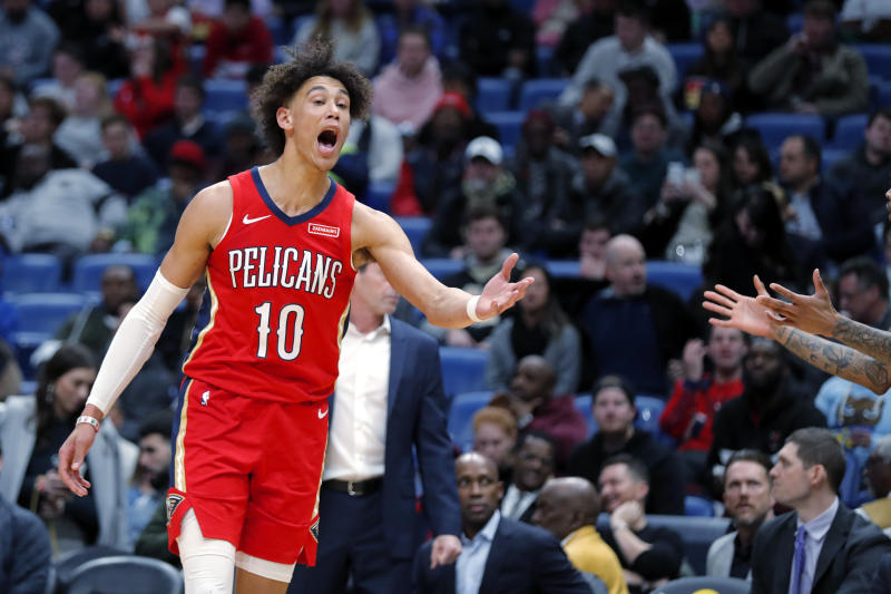 This is not a great look for Pelicans rookie Jaxson Hayes. (AP Photo/Gerald Herbert)