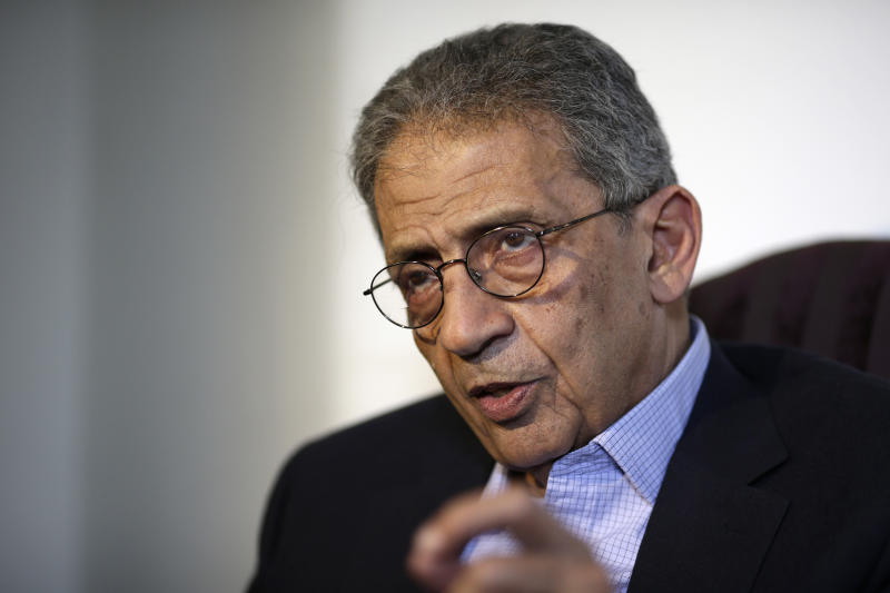 "Amr Moussa, former Secretary-General of the Arab League speaks during an interview with the Associated Press, in Cairo, Egypt, Thursday, June 27, 2013. The prominent opposition leader on Thursday criticized Egypt's president for not offering a detailed road map for national reconciliation, saying his offer for a dialogue was a repeat of earlier proposals that never panned out. In comments made later to The Associated Press in an interview, Moussa accused the president of ""not taking the opposition seriously."" He said Mohammed Morsi and his Islamist backers were in denial. ""They don't want to recognize that there is anger. They are missing the point, a major point. they are in a state of denial"" (AP Photo/Hassan Ammar)"