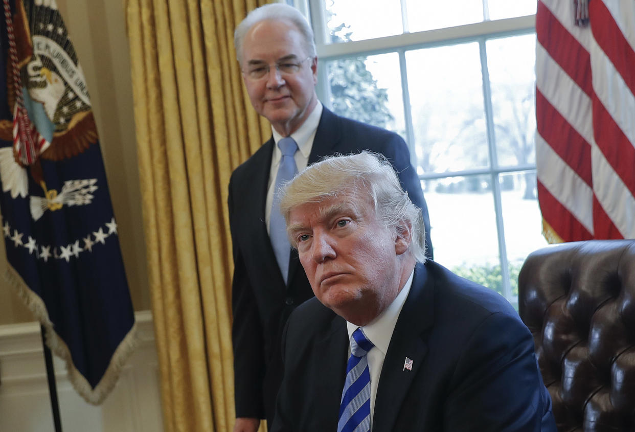 President Trump with Health and Human Services Secretary Tom Price in the Oval Office in March.(AP/Pablo Martinez Monsivais, file)