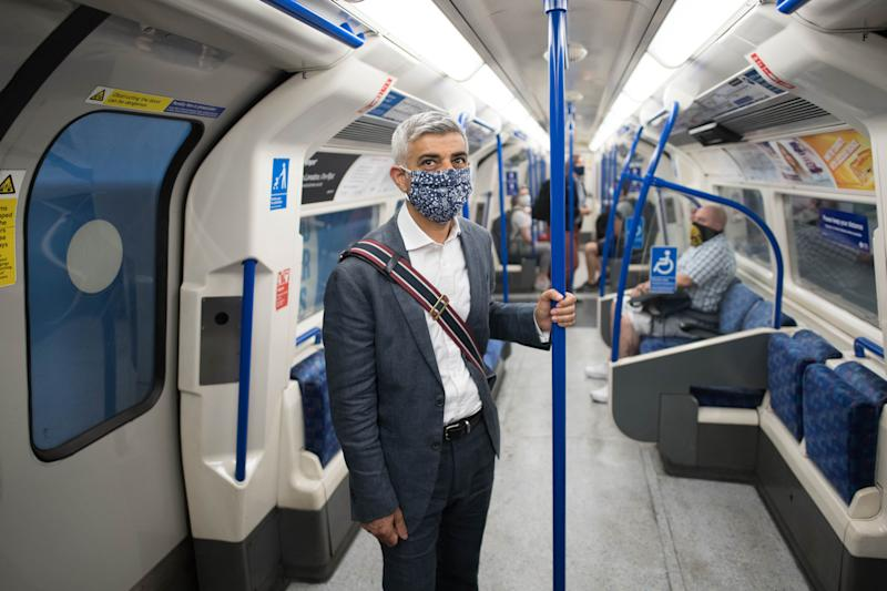 Mayor of London Sadiq Khan takes the tube to Oxford Street, London, where he visited shops and restaurants to find out how they are coping after he sent a letter to the Prime Minister on the huge challenges currently being faced by West End businesses. (Getty)