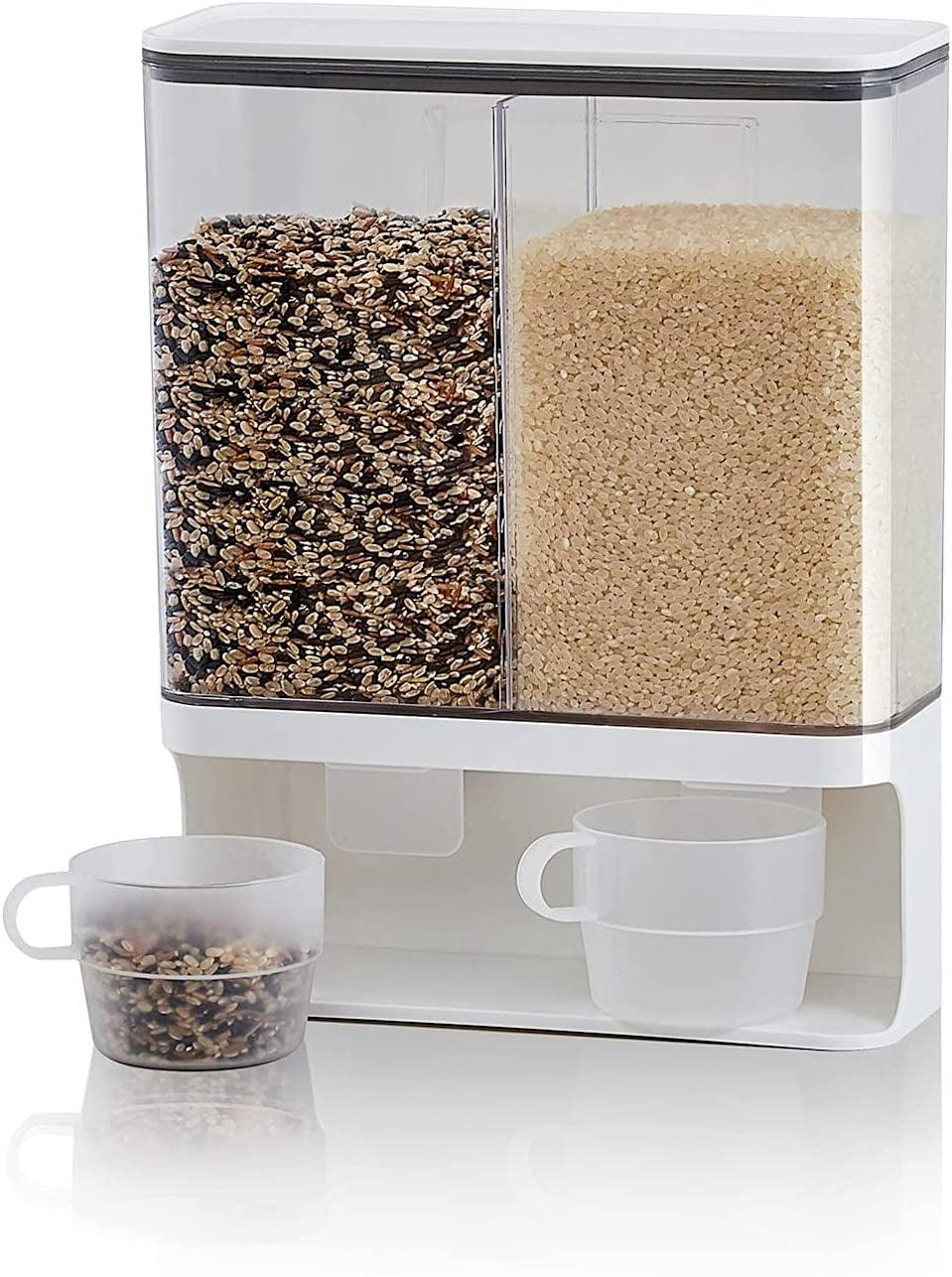 <p>Organize your dry grains and legumes with this <span>Wall Mounted Automatic Dry Food Dispenser with Lids and 2 rice cups</span> ($27). It will make cooking your favorite meals a lot easier and cleaner.</p>