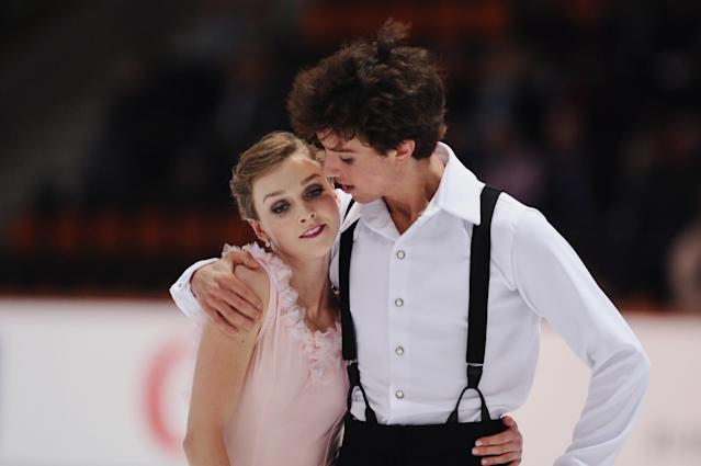 OBERSTDORF, GERMANY - SEPTEMBER 26: Alexandra Paul and Mitchell Islam of Canada react after competing in the Ice Dance Short Program during day one of the ISU Nebelhorn Trophy at Eissportzentrum Oberstdorf on September 26, 2013 in Oberstdorf, Germany. (Photo by Dennis Grombkowski/Bongarts/Getty Images)