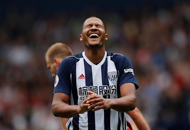 """Soccer Football - Premier League - West Bromwich Albion v Liverpool - The Hawthorns, West Bromwich, Britain - April 21, 2018 West Bromwich Albion's Salomon Rondon reacts after conceding a foul Action Images via Reuters/Andrew Boyers EDITORIAL USE ONLY. No use with unauthorized audio, video, data, fixture lists, club/league logos or """"live"""" services. Online in-match use limited to 75 images, no video emulation. No use in betting, games or single club/league/player publications. Please contact your account representative for further details."""