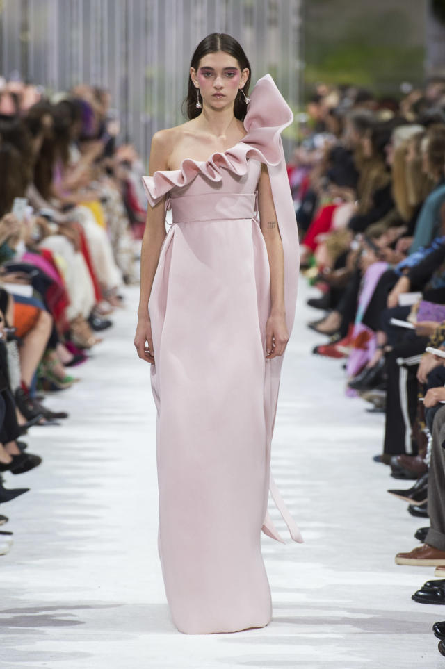 <p><i>Pink ruffled gown from the SS18 Valentino collection. (Photo: ImaxTree) </i></p>