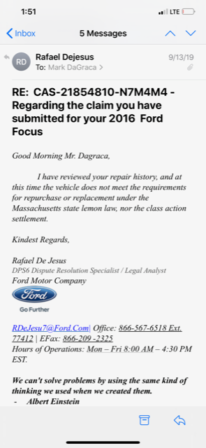 """Mark DaGraca said he pleaded for relief from Ford Motor because his 2016 Focus had a defective DPS6 dual-clutch """"PowerShift"""" transmission. Ford's DPS6 dispute resolution specialist/legal analyst denied DaGraca's claim. He is one 2 million people who purchased Focus and Fiesta vehicles with the technology that has resulted in consumer lawsuits in the U.S. and globally"""