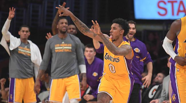 46ef12102739 Nick Young Broke Out The Perfect Swaggy P Celebration With His Three-Point  Air Hump
