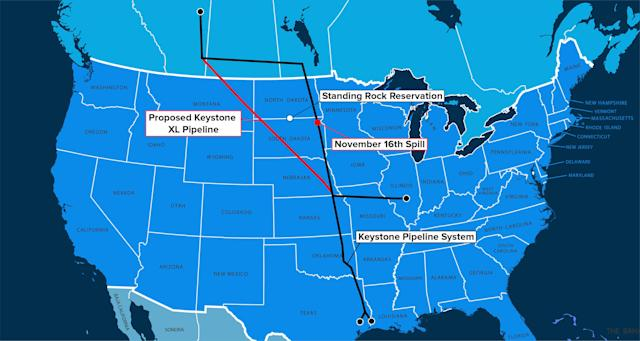 Keystone XL would carry tar sands oil from Canada through Montana and South Dakota to Nebraska, where the conduit would link up to the Keystone Pipeline, which was completed in 2010. The highly pollutive oil would then go to refineries in Texas. (Map: Getty Images / Graphics: Ji Sub Jeong/Huffpost)