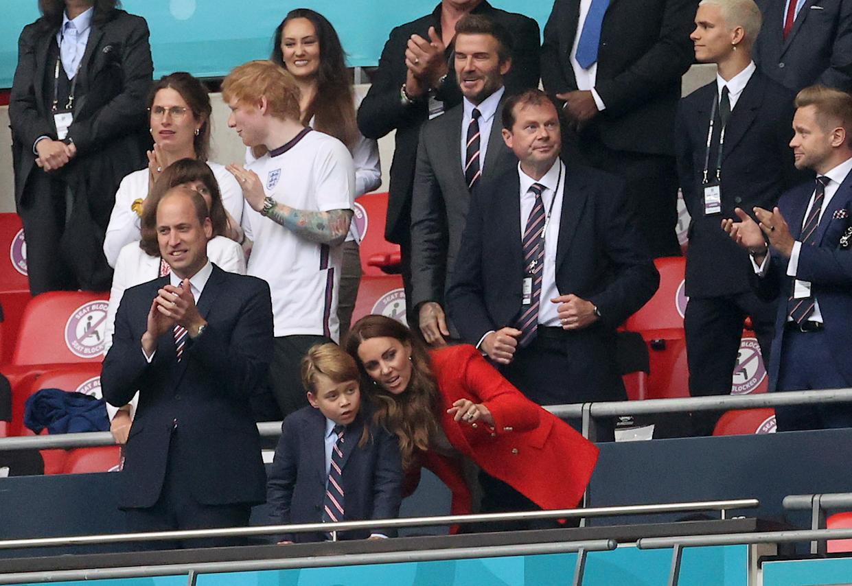 LONDON, ENGLAND - JUNE 29: Prince William, President of the Football Association along with Catherine, Duchess of Cambridge with their son Prince George after the UEFA Euro 2020 Championship Round of 16 match between England and Germany at Wembley Stadium on June 29, 2021 in London, England. (Photo by Carl Recine - Pool/Getty Images)