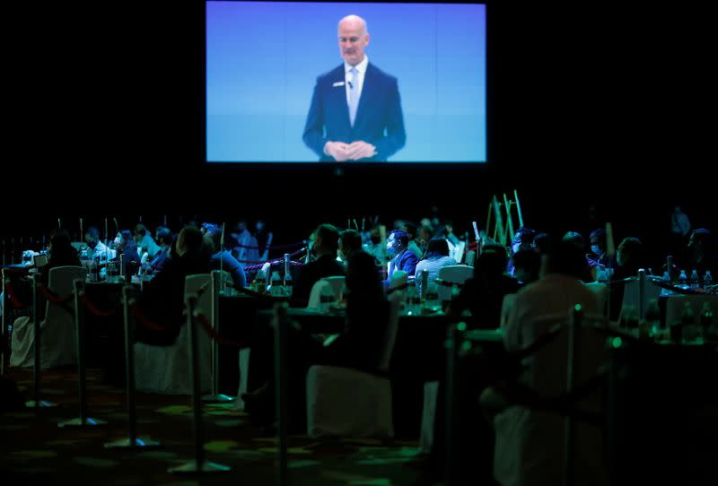 Rupert Owen, Montgomery Asia Event Director and co-founder, speaks to attendees at the Geo Connect Asia trade conference in Singapore