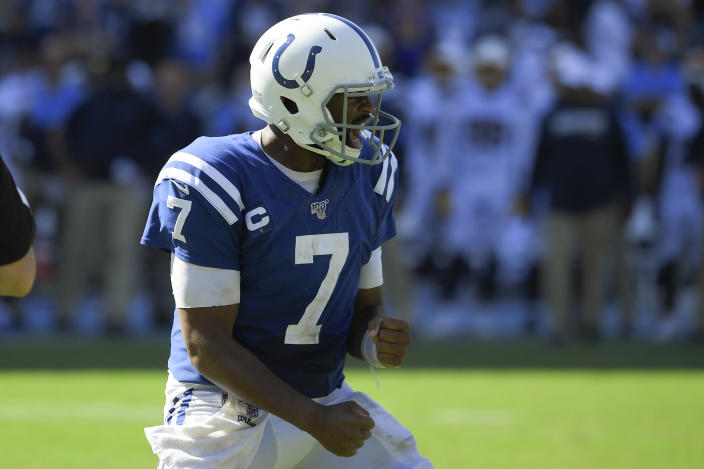 Indianapolis Colts quarterback Jacoby Brissett celebrates after a touchdown during the second half in an NFL football game against the Los Angeles Chargers Sunday, Sept. 8, 2019, in Carson, Calif. (AP Photo/Mark J. Terrill)