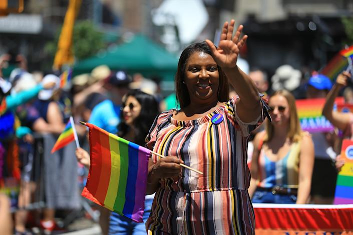 Attorney General Letitia James marches in the N.Y.C. Pride Parade in New York on June 30, 2019. (Photo: Gordon Donovan/Yahoo News)