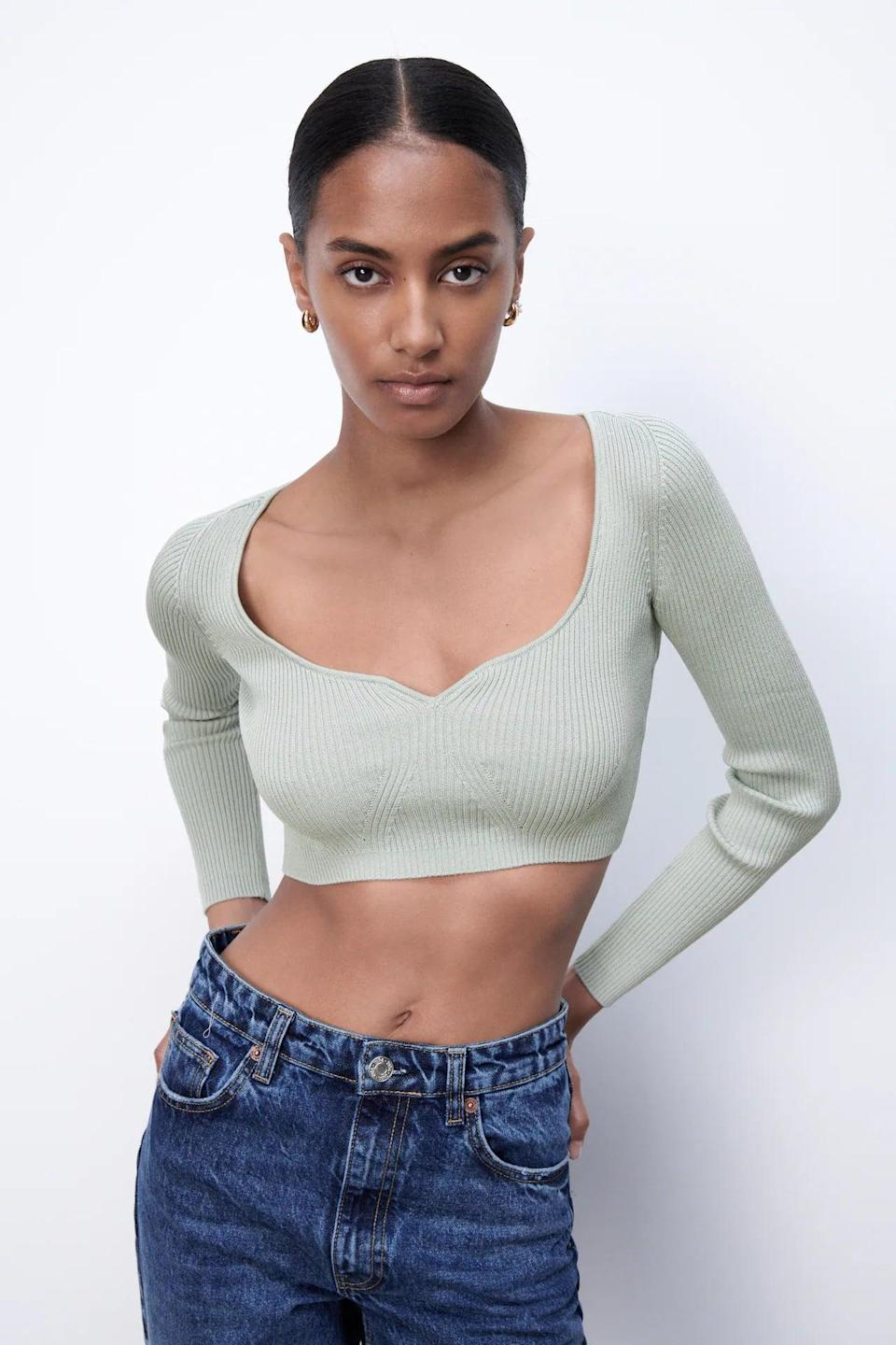 <p>If you love the femininity of a sweetheart neckline, consider buying this <span>Cropped Knit Top</span> ($36). Finish off your look with some high-waist jeans and kitten heels.</p>