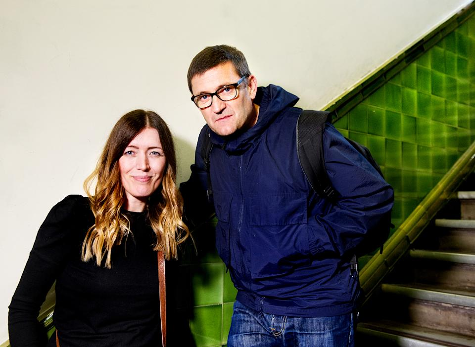 HULL, ENGLAND - JULY 25: (EXCLUSIVE COVERAGE) Paul Heaton and Jacqui Abbott pose backstage after performing live and signing copies of their new album 'Crooked Calypso' during an in-store session at HMV Hull on July 25, 2017 in Hull, England. (Photo by Shirlaine Forrest/WireImage)
