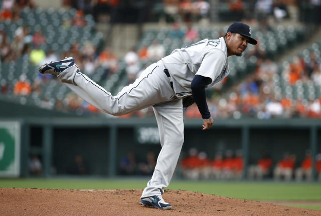 Seattle Mariners starting pitcher Felix Hernandez follows through on a pitch to the Baltimore Orioles in the first inning of a baseball game, Monday, June 25, 2018, in Baltimore. (AP Photo/Patrick Semansky)