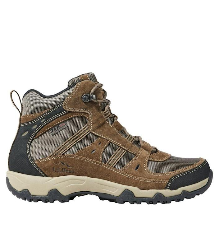 """<p>llbean.com</p><p><strong>$109.00</strong></p><p><a href=""""https://go.redirectingat.com?id=74968X1596630&url=https%3A%2F%2Fwww.llbean.com%2Fllb%2Fshop%2F91474&sref=https%3A%2F%2Fwww.menshealth.com%2Fstyle%2Fg37095236%2Fbest-rain-boots-for-men%2F"""" rel=""""nofollow noopener"""" target=""""_blank"""" data-ylk=""""slk:BUY IT HERE"""" class=""""link rapid-noclick-resp"""">BUY IT HERE</a></p><p>These waterproof hiking boots are more like sneakers than boots. They feature L.L. Bean's exclusive VertGrip outsole for traction on any surface. Additionally, the style also features heel and toe bumpers for added durability.</p>"""