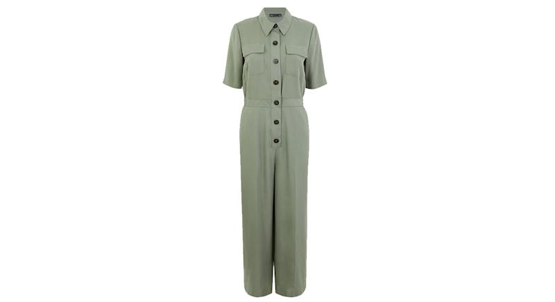 Linen Rich Button Front Utility Jumpsuit