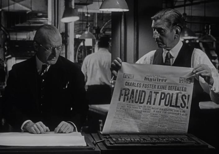 """What happens when a news tycoon runs for office? The question was raised in this scene from """"Citizen Kane"""" after its title candidate lost an election."""