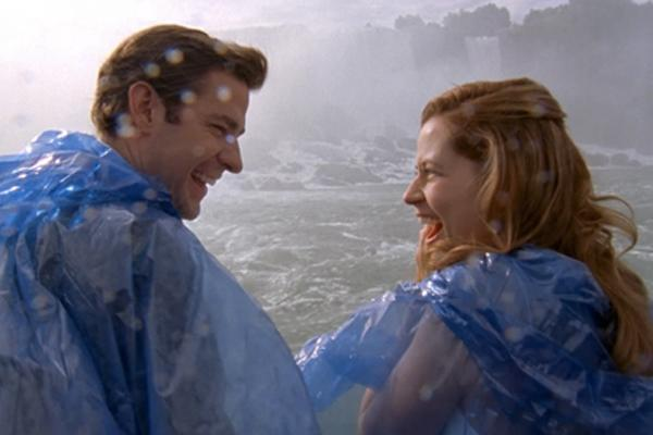 Pam and Jim (The Office):  After inviting friends and family to Niagara Falls, the wedding festivities quickly spiral once Jim accidentally reveals Pam's pregnancy. In a moment of spontaneity, the two then abscond from church, returning just in time for the actual ceremony. (Their second, since they'd just gotten married on the Maid of the Mist.)