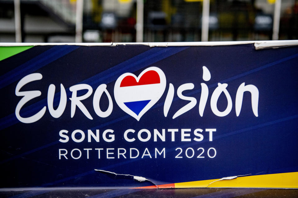 ROTTERDAM, NETHERLANDS - 2020/03/18: The Eurovision logo seen outside the Rotterdam Ahoy, the official venue for the planned Eurovision Song Contest 2020. This year's Eurovision Song Contest has been canceled due to the ongoing pandemic of the COVID-19 coronavirus disease. (Photo by Robin Utrecht/SOPA Images/LightRocket via Getty Images)