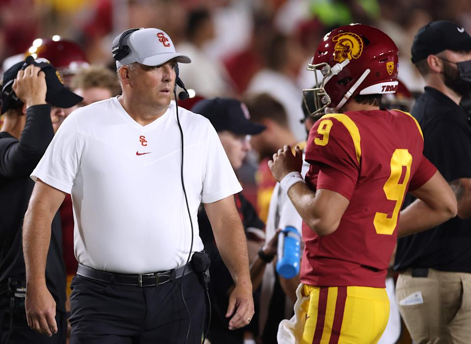 Coach Clay Helton and the Trojans suffered a blowout loss against Stanford on Saturday.