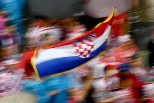 Croatia fans wave flags in Zagreb ahead of the World Cup final