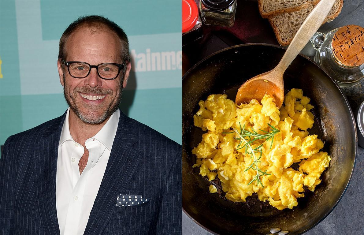 """<p><a href=""""https://www.thedailymeal.com/eat/alton-brown-good-eats-revival-interview/082119?referrer=yahoo&category=beauty_food&include_utm=1&utm_medium=referral&utm_source=yahoo&utm_campaign=feed"""">""""Good Eats""""</a> mastermind Alton Brown <a href=""""https://www.foodnetwork.com/recipes/alton-brown/perfect-scrambled-eggs-recipe-2107541?referrer=yahoo&category=beauty_food&include_utm=1&utm_medium=referral&utm_source=yahoo&utm_campaign=feed"""">begins with</a> three large eggs, which are whisked together in a bowl with a pinch of kosher salt, one grind of black pepper and three tablespoons of whole milk until light and foamy. The mixture is then added to a pan over high heat (after letting a tablespoon of butter melt) and stirred slowly with a rubber or silicone spatula. Once the eggs begin to set, he turns the heat down to low while continuing to fold the eggs around the pan, and transfers them to a warm plate as soon as they're no longer runny.</p>"""