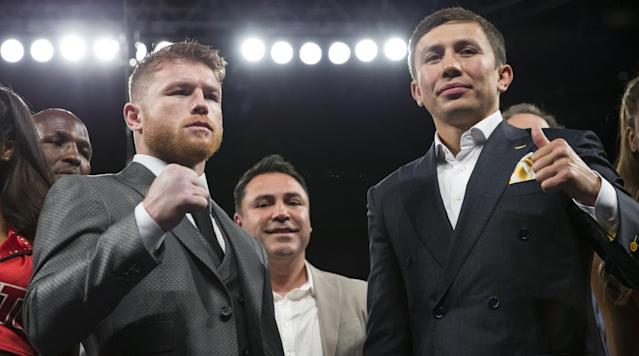 "<p>Gennady ""GGG"" Golovkin is favored in his middleweight title fight against Saul ""Canelo"" Alvarez on Sept. 16.</p><p><a href=""http://www.oddsshark.com/boxing"" rel=""nofollow noopener"" target=""_blank"" data-ylk=""slk:According to oddsshark.com"" class=""link rapid-noclick-resp"">According to oddsshark.com</a>, GGG has -151 odds going into the fight while Alvarez is at +131.</p><p>When it comes to the prop bets concerning how the fight will be won, Golovkin is at +160 to land a knockout, +275 to win by decision and +600 to win unanimously. Canelo on the other hand is at +500 to win by knockout, +205 to win by decision and +400 to win unanimously.</p><p>In his last fight, GGG defeated Daniel Jacobs by decision to get the WBA Middleweight Title, to go along with the IBO, IBF and WBC titles that he already held. Prior to that, Golovkin had won 23 consecutive fight by knockout or RTD.</p><p>Canelo's last fight was a shutout decision over Julio Cesar Chavez Jr. Before that bout, Alvarez defeated Amir Khan and Liam Smith by knockout.</p>"