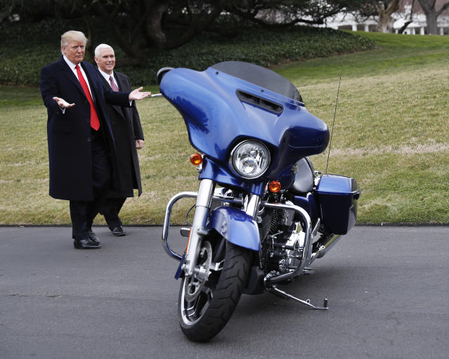 Trump and Pence admire one of the Harley-Davidson motorcycles brought to the White House in February 2017. (Photo: Pablo Martinez Monsivais/AP)