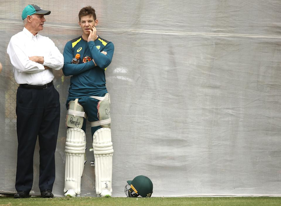 Australian Selector Greg Chappell speaks with Tim Paine during an Australian nets session at Adelaide Oval on December 04, 2018 in Adelaide, Australia.