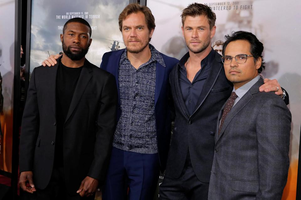 (L-R) Cast members Trevante Rhodes, Michael Shannon, Chris Hemsworth and Michael Pena attend the world premiere of 12 Strong in New York City. (Photo: REUTERS/Andrew Kelly)